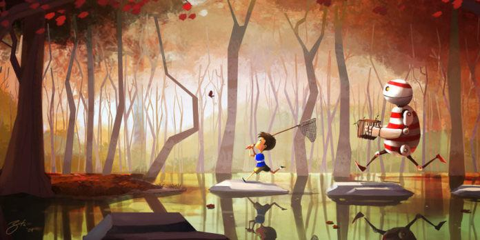 butterfly catching kid and robot cut photoshop illustration funny digital art kids children fun