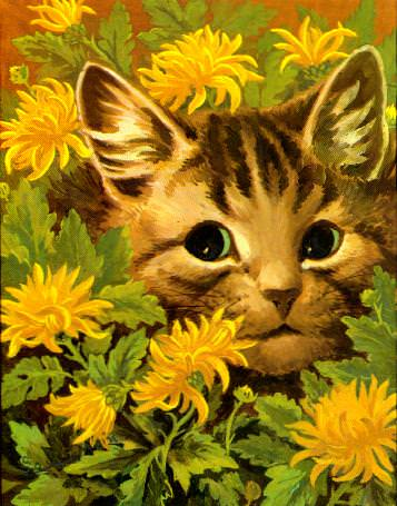 cat flower louis wain schizophrenic art illustration painting