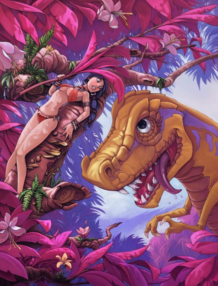 cavegirl cave girl vs dinosaur monster beast funny photoshop art digital painting humor sexy