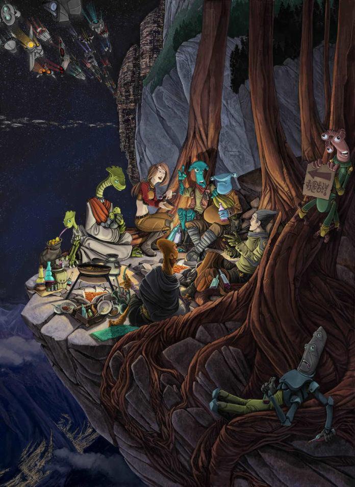chabane fantasy fireside gathering alien planet funny photoshop painting digital art humor creature
