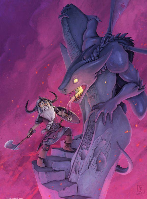 chabane fantasy photoshop painting digital art viking vs monster action fighting pink humor funny