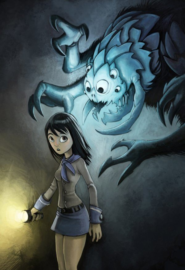 chabane photoshop monster halloween girl scout torch horror spooky fright digital art painting