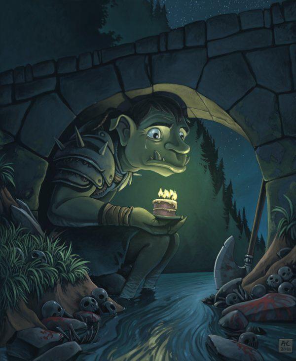 chabane troll under bridge fantasy painting photoshop digital art monster beast birthday sad