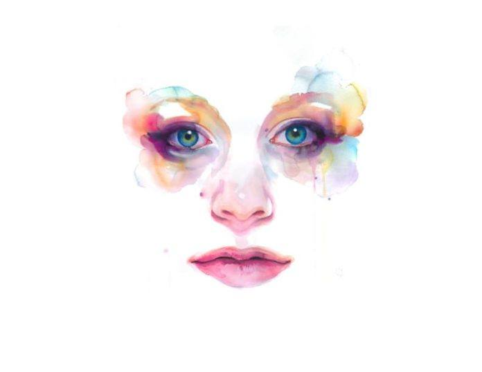 female portrait watercolor painting feminine art beauty face expression print image eyes