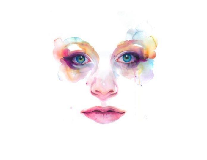 female portrait watercolor painting feminine art beauty face expression print image eyes