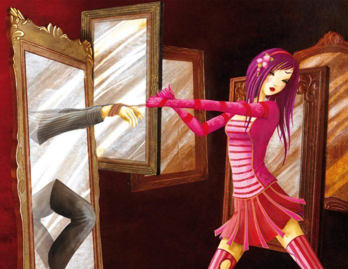 fine art oil painting girl in pink purple hair mirror bondage tied up tie the knot marriage relationships