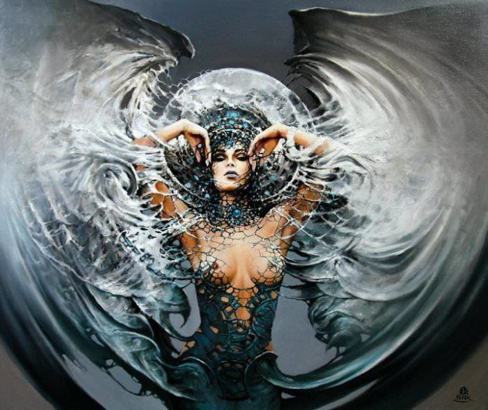 gothic painting woman nude fantasy dark angel of death moon art illustration portrait