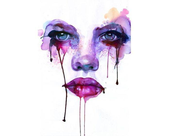 intense watercolor painting blood tears female face feminine portrait pink purple art eyes