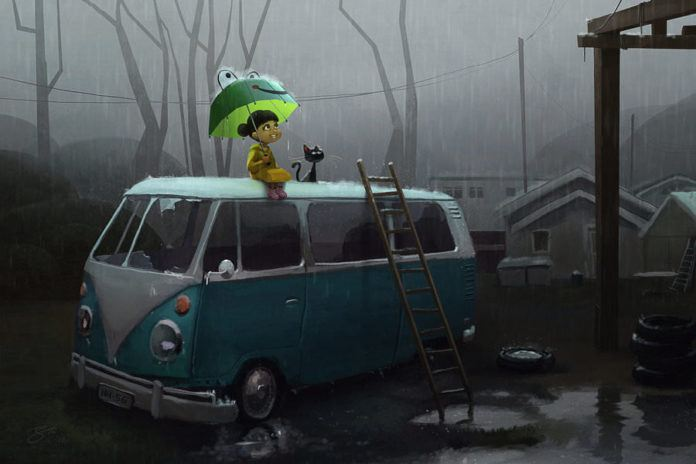 kid cat rain vw volkwagen classic car rainy day cute childhood memory fun weather umbrella