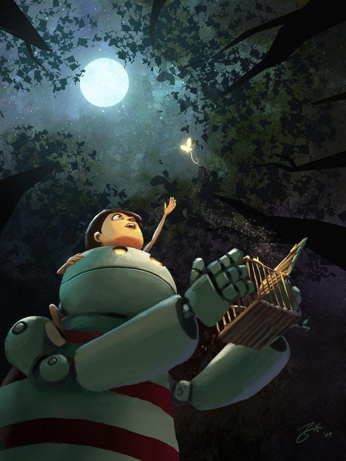 kid robot glowing butterfly comic photoshop painting cartoon digital art character