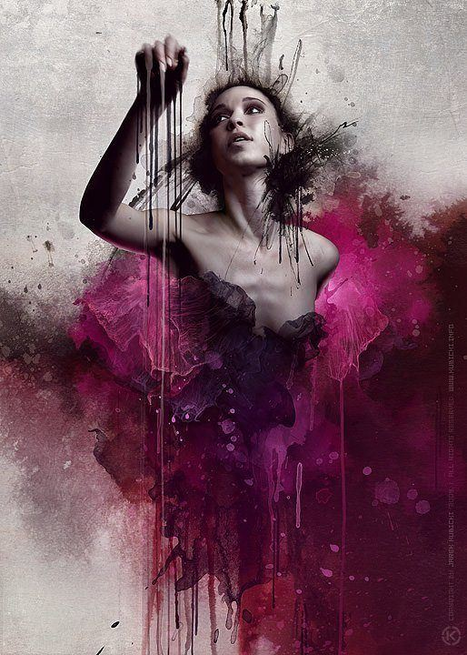 kubicki woman pink lace beautiful dramatic digital painting feminine computer art mixed media