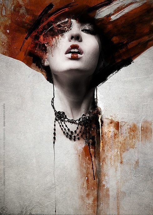 Kubicki woman portrait digital art mixed media painting for Creative abstract painting