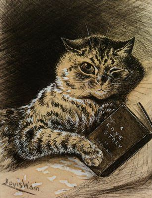 louis wain a love story cat drawing illustration reading book pet animal