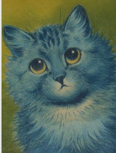 louis wain blue cat sane schizophrenic art illustration pet animal