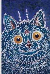 louis wain blue cat schizophrenic insane artists descent into madness art illustration psychedelic