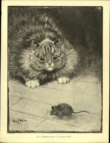 louis wain cat and mouse drawing illustration art anthropomorphic