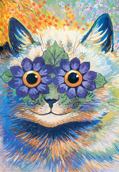 louis wain cat flower eyes patterns schizophrenia art mental health disorder