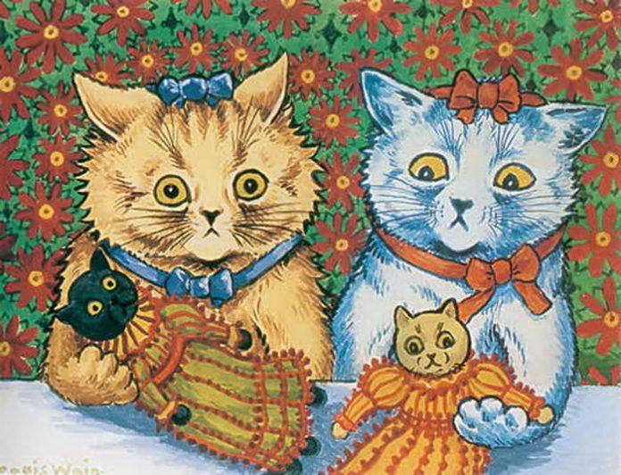 louis wain cats with cat dolls illustration art painting pets animal schizophrenia