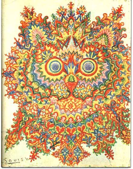 louis wain schizophrenia art illustration animal cat psychedelic mental health disorder crazy