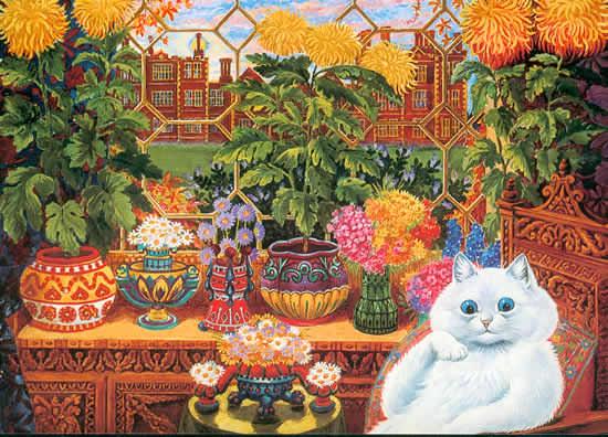 louis wain the botanist cat illustration art schizophrenia progression mental health disease