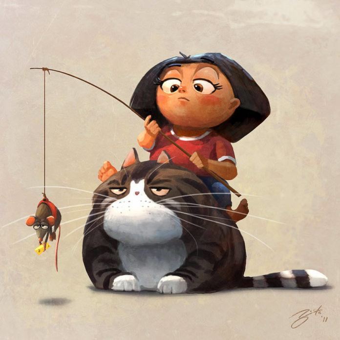 obese pet fat cat mouse on fishing pole asian girl comic humor funny photoshop illustration cartoon humor