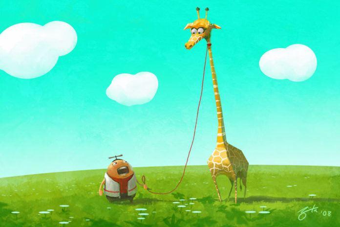 pet giraffe fat kid funny photoshop illustration digital art humor animal character caricature