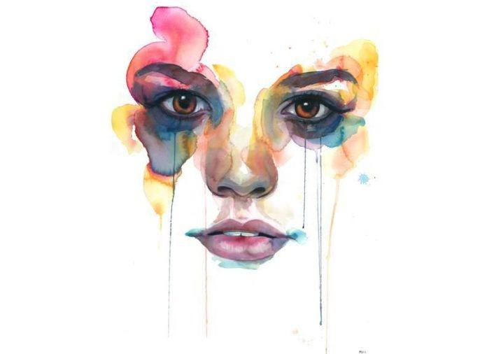 portrait painting watercolor face woman female feminine emotional intense beautiful art eyes