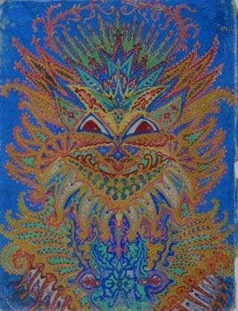 psychedelic cat louis wain schizophrenic art design patterns trippy mental health disorder
