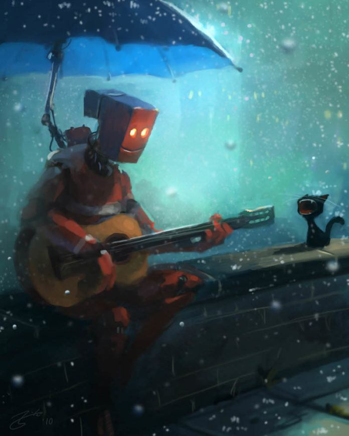 robot guitar cat yowling rain umbrella funny photoshop painting digital art humor cute character