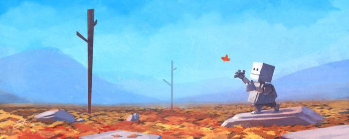 robot kid catching leaf life photoshop art digital painting cute scene human nature
