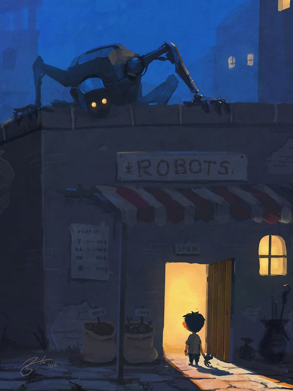 robot store nightmare spooky monster creepy kid photoshop painting digital art cartoon comic