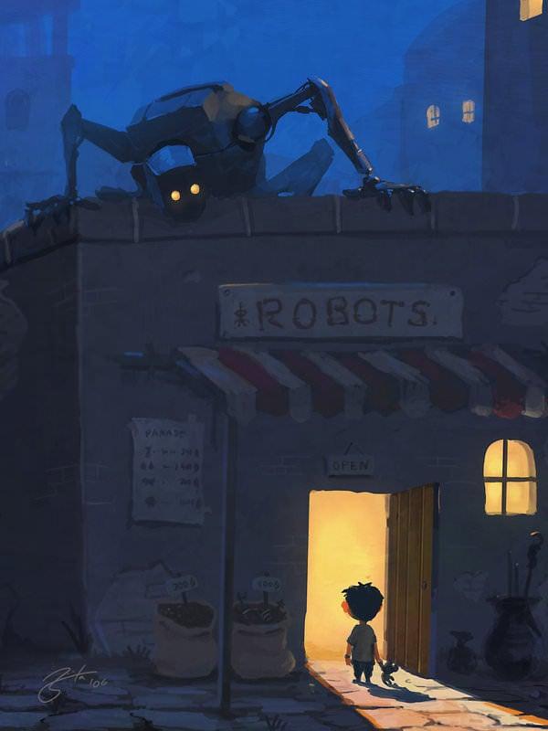 robot store nightmare spooky monster creepy kid photoshop painting digital art cartoon comic