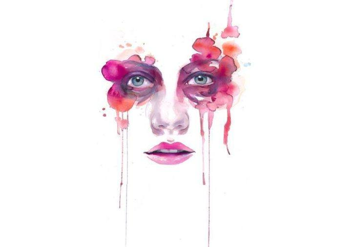 watercolor painting portrait woman face feminine pink beautiful print art eyes