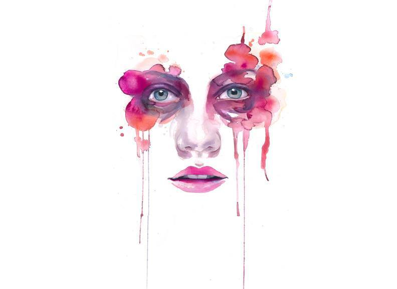 watercolor painting portrait woman face feminine pink ...