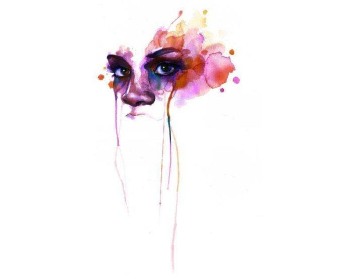 watercolor portrait face painting woman intense emotional expression creative life art eyes