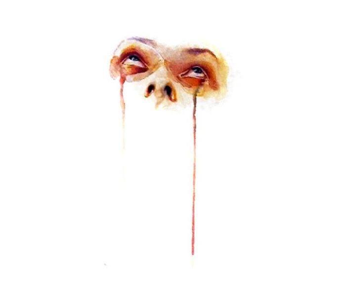 watercolor portrait painting pain woman female face art drip color emotion eyes
