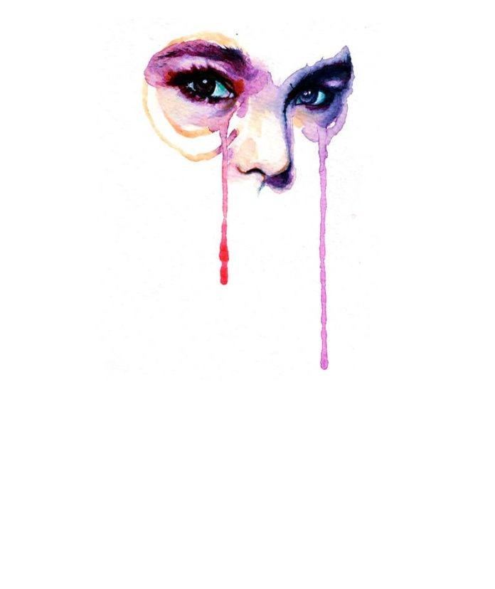 watercolor portrait woman face painting drip art inspiration life feminine female eyes