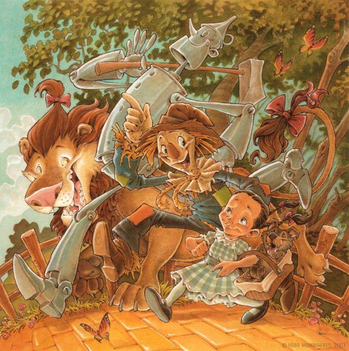 wizard of oz dorothy tin man lion scarecrow toto comic cartoon illustration photoshop digital art children