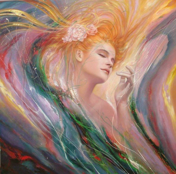woman feminine female fine art painting beautiful perfume scent color waves lovely picture
