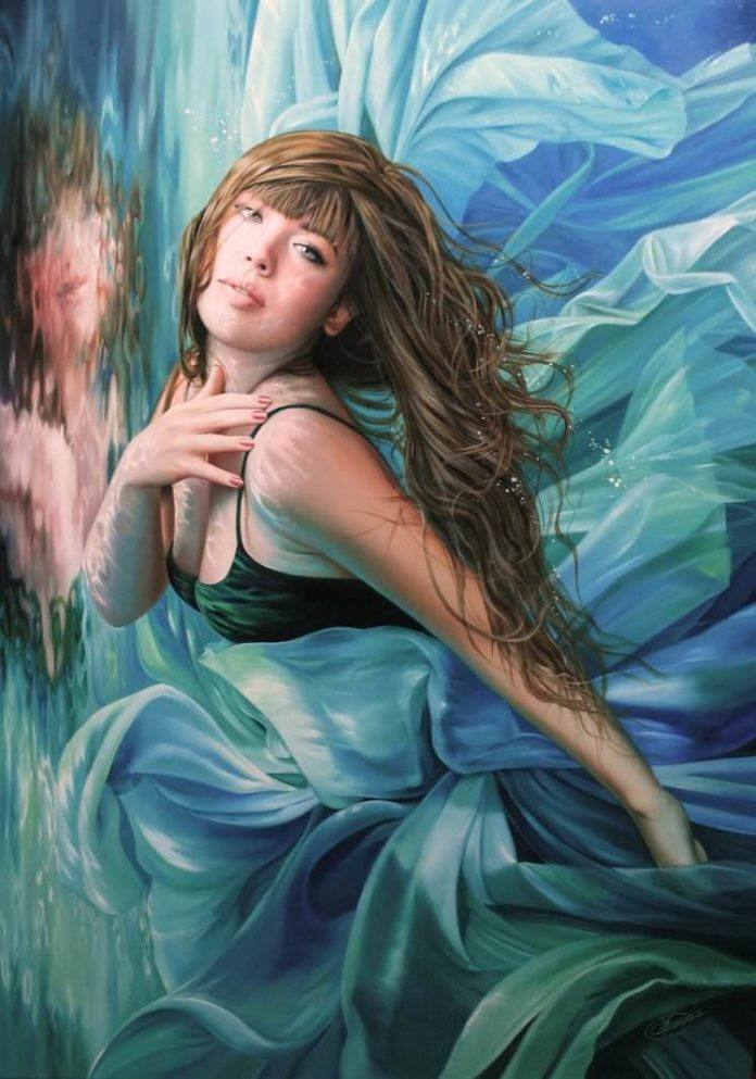 woman fine art painting mermaid underwater reflection vanity beautiful female feminine sexy swimming