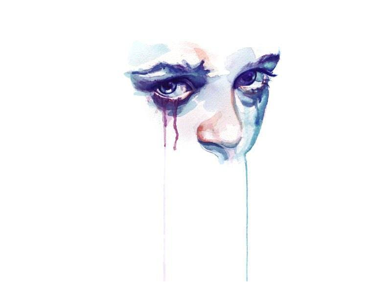 woman girl watercolor portrait sad face painting art tears ...