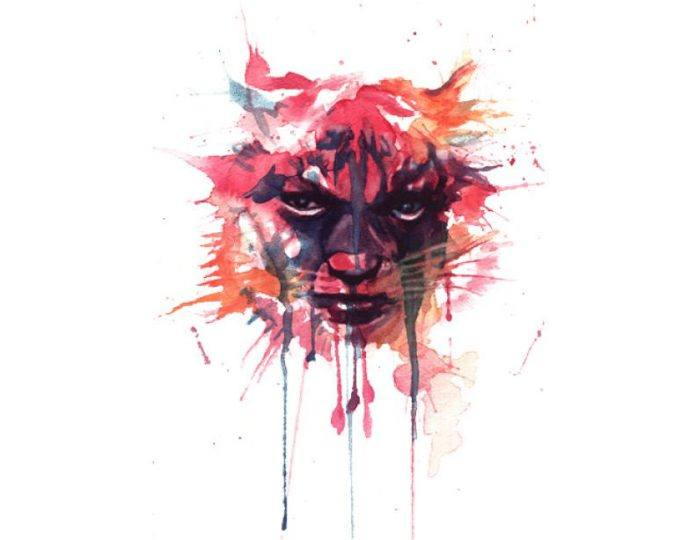 woman tiger watercolor painting overlay fantasy portrait face intense design splash drip eyes