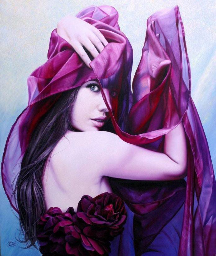 women art pink beautiful elegant graceful material silk sexy stunning female feminine art painting