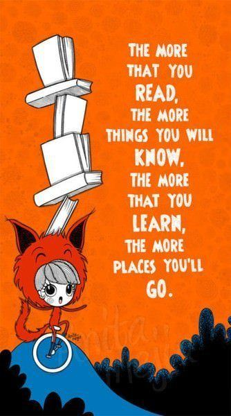 Dr Seuss picture quote on reading and knowledge inspirational kids book illustration art
