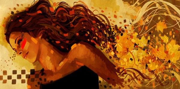 autumn beautiful girl portrait seasons falling leaves change breaking apart photoshop painting digital art design