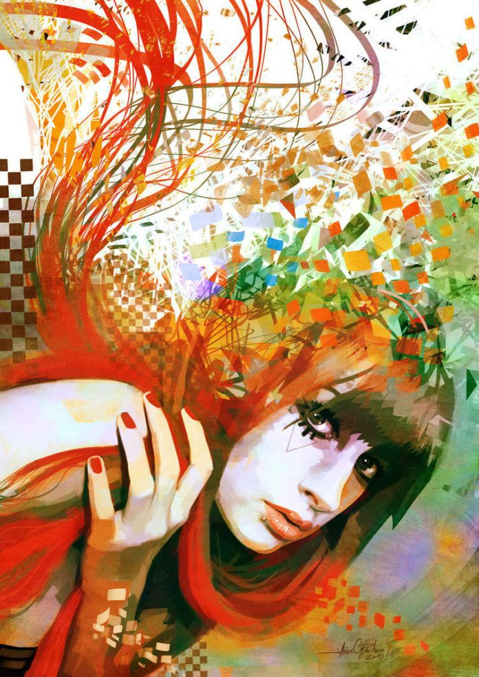 beautiful emo girl falling apart red nails hair photoshop painting digital art design