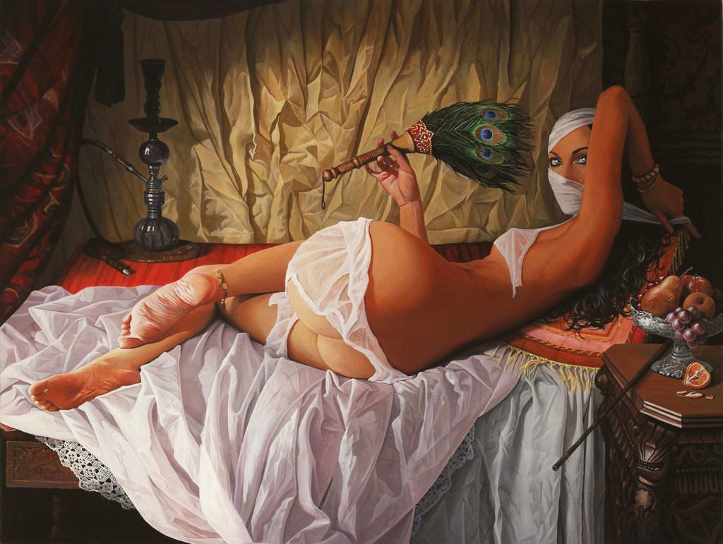 Beautiful Woman Nude Oil Painting Hookah Pipe Arabian Nights Veil