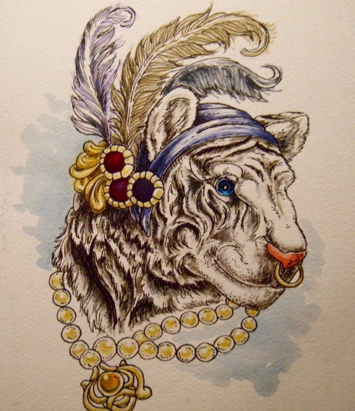 bhengal tiger colonial india feathers beads pearls animal nature art illustration painting drawing