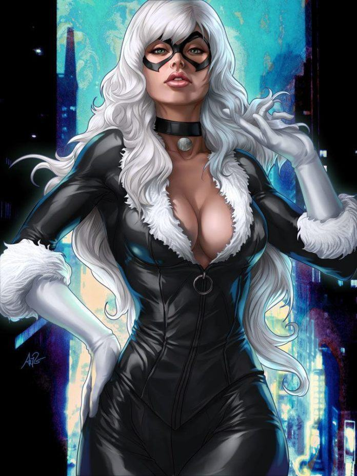 black pussy cat sexy superhero villain comic book action firgure hot girl photoshop digital art
