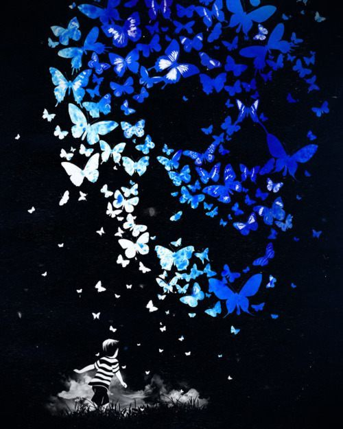 boy chasing butterflies dreams imagination creativity flying art design illustration inspiration